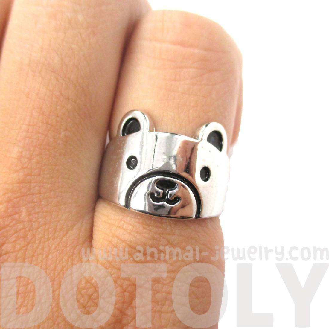 Simple Cute Teddy Bear Shaped Animal Ring in Silver | Animal Jewelry