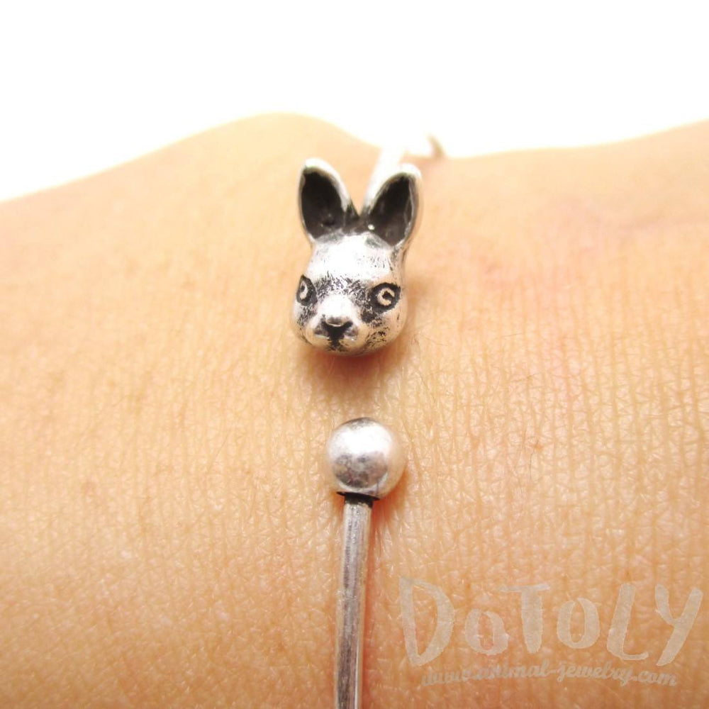 Simple Bunny Rabbit Charm Bangle Bracelet Cuff in Silver | Animal Jewelry | DOTOLY