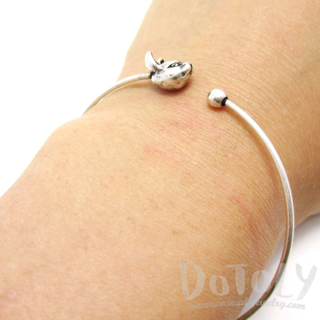 Simple Bunny Rabbit Charm Bangle Bracelet in Silver