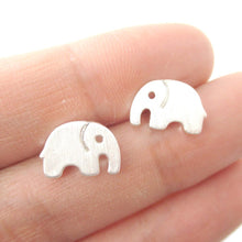 Simple Elephant Animal Shaped Stud Earrings in Silver