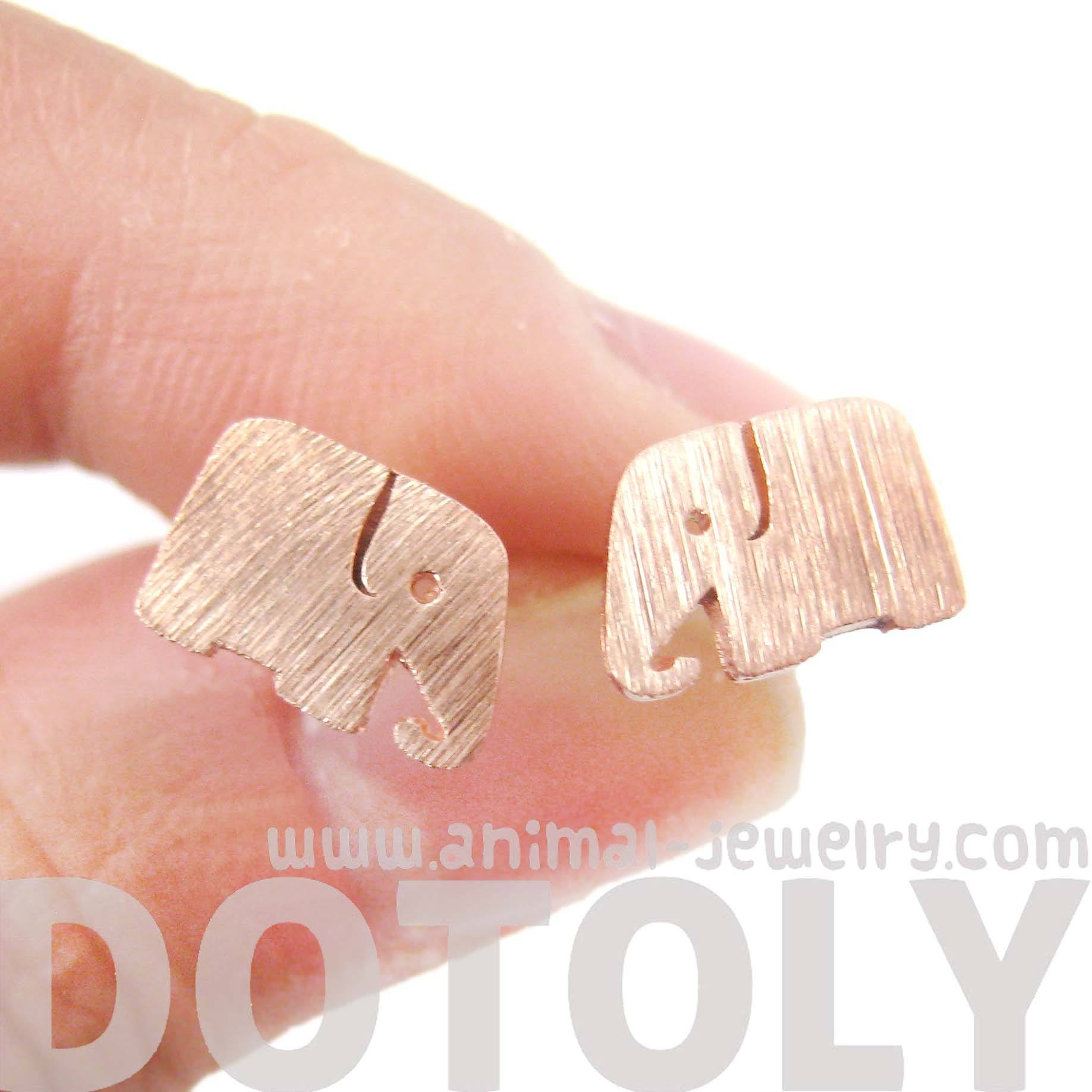 Simple Elephant Shaped Silhouette Stud Earrings in Rose Gold