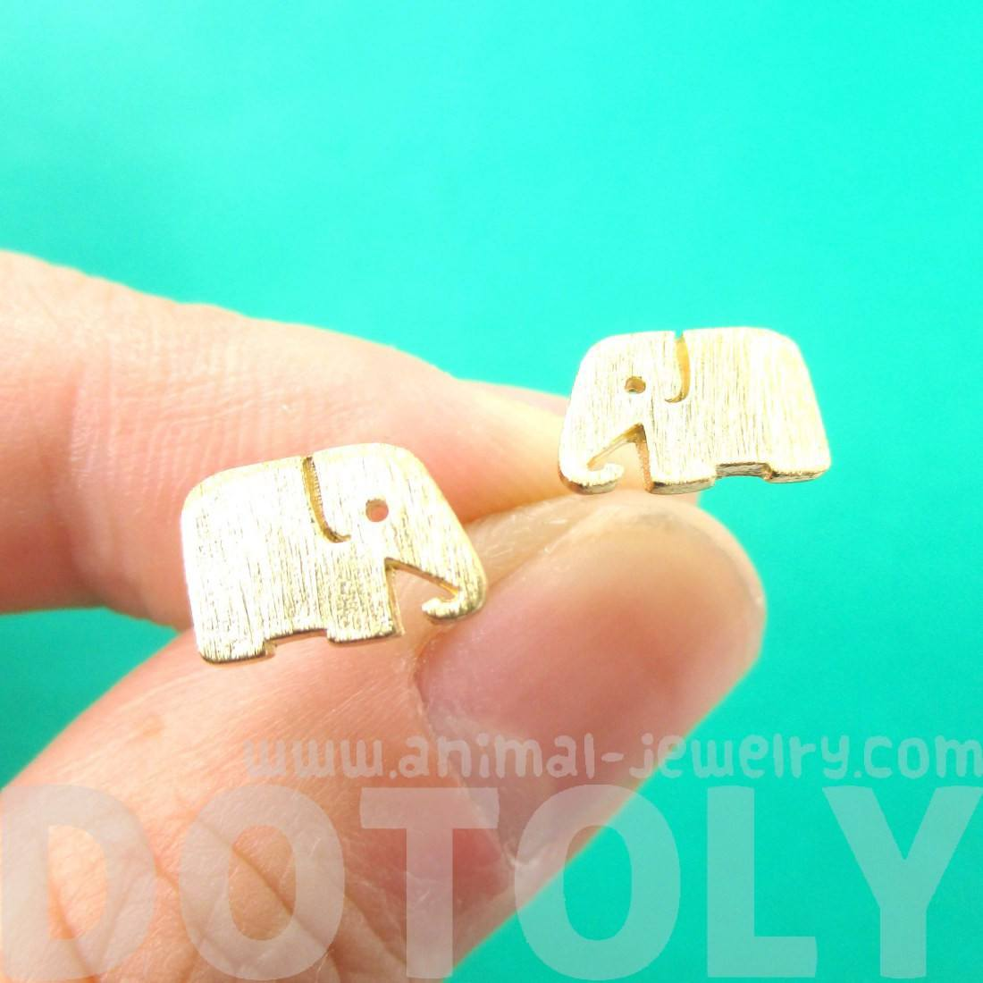 Simple Elephant Silhouette Shaped Stud Earrings in Gold | Allergy Free
