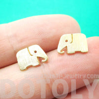Simple Elephant Silhouette Shaped Stud Earrings in Gold | Allergy Free | DOTOLY