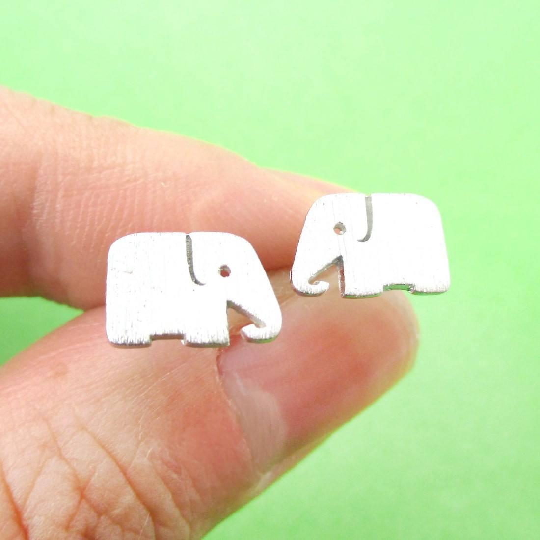 Simple Elephant Silhouette Shaped Stud Earrings in Silver | DOTOLY