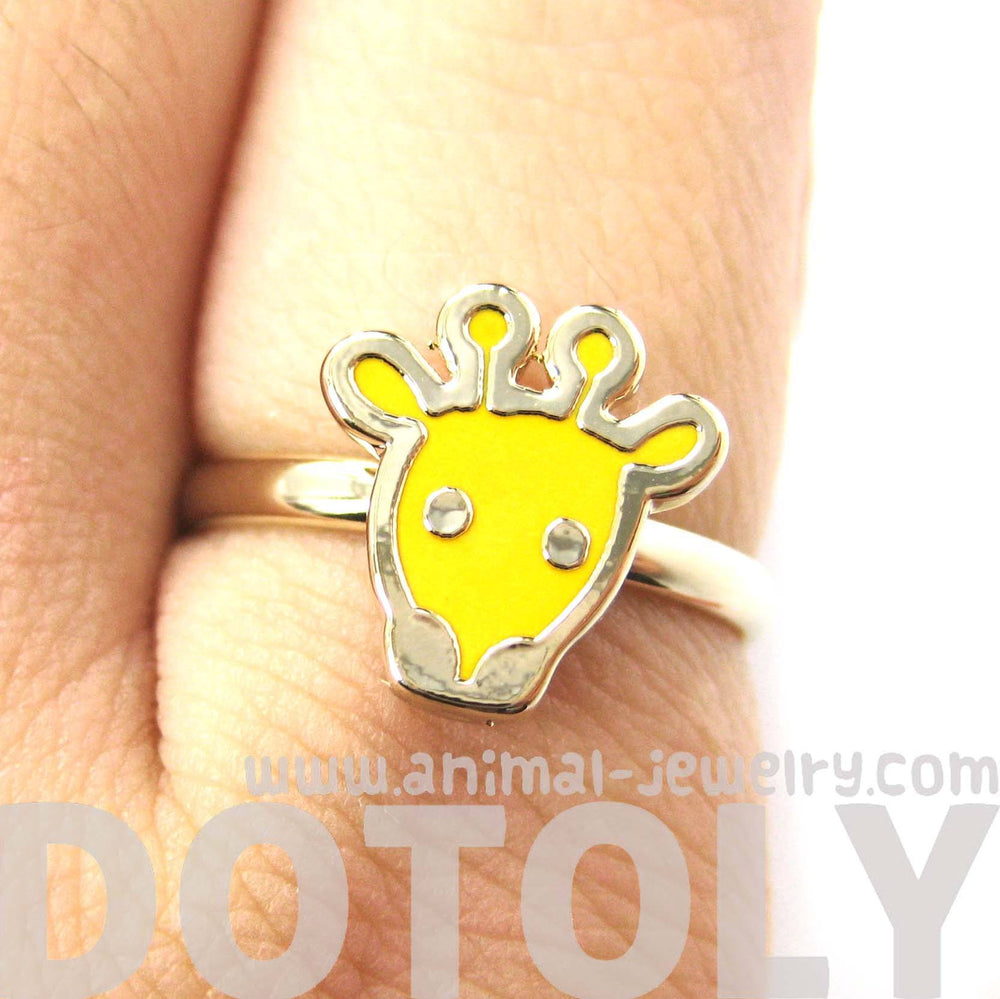 Simple Giraffe Shaped Animal Adjustable Ring in Yellow | DOTOLY | DOTOLY