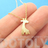 Simple Giraffe Silhouette Shaped Pendant Necklace in Gold | DOTOLY