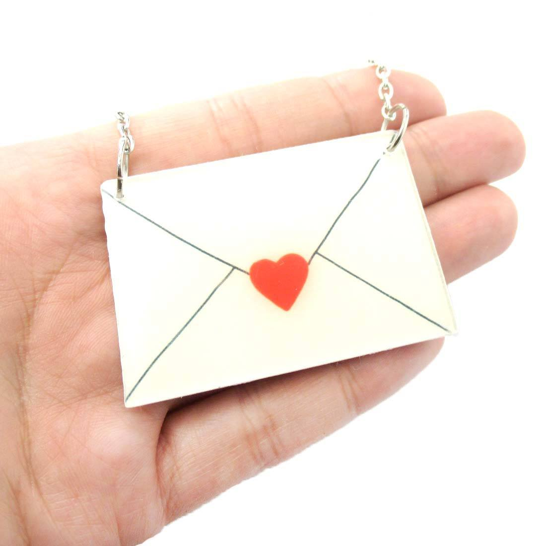 Simple Heart Love Letter Envelope Shaped Acrylic Pendant Necklace