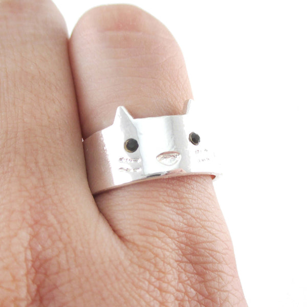 Simple Kitty Cat Face Shaped Animal Ring in Silver
