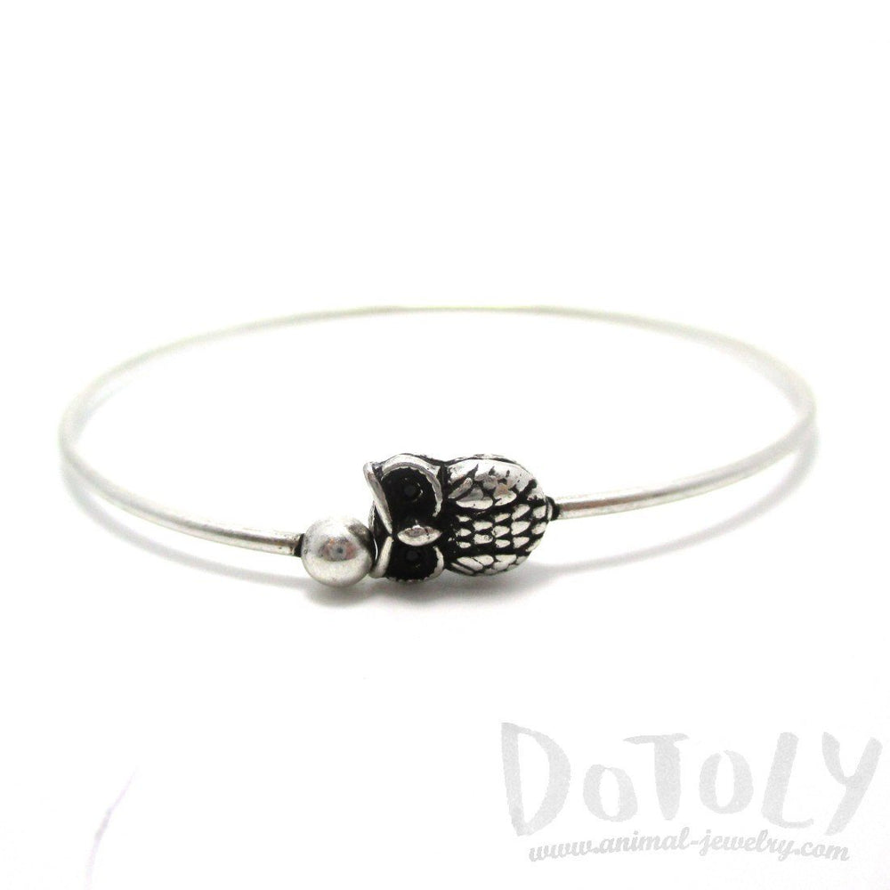 Simple Owl Bird Charm Bangle Bracelet Cuff in Silver