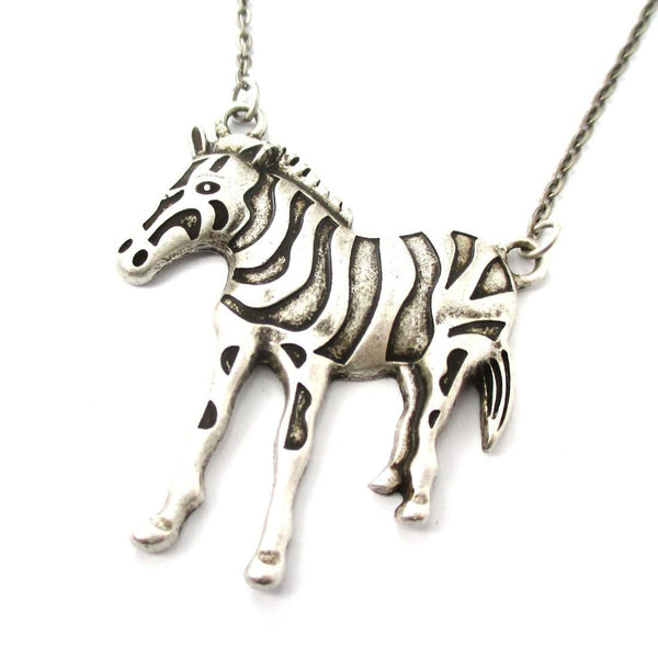Zebra Animal Pendant Necklace in Silver | Animal Jewelry