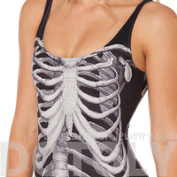 Skeletal Human Ribcage Skeleton Bone Digital Print Scoop Neck Bodysuit