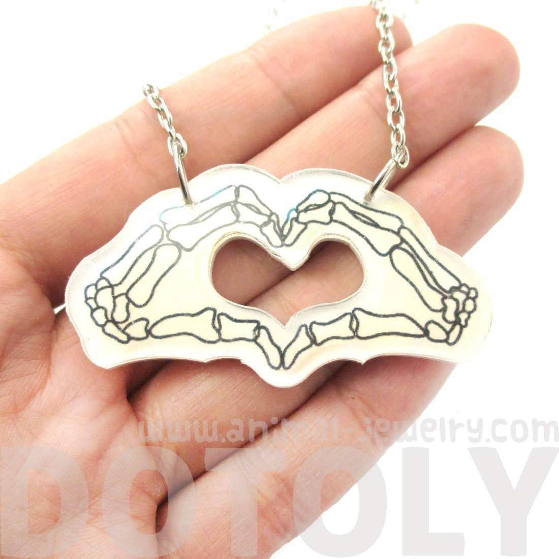 Skeleton Hands Forming an I Heart You Sign Shaped Necklace in Acrylic