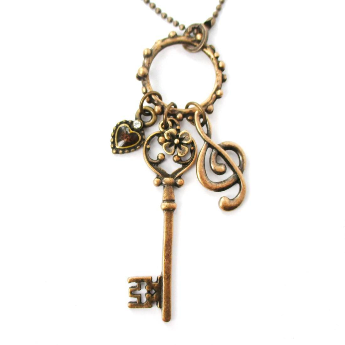 Skeleton Key Heart and Treble Clef Pendant Necklace in Brass