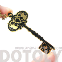 Skeleton Key Shaped Pendant Necklace in Black on Gold | Limited Edition | DOTOLY