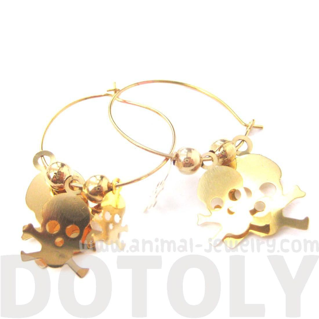 Skeleton Skull Bones Pirate Silhouette Shaped Dangle Hoop Earrings