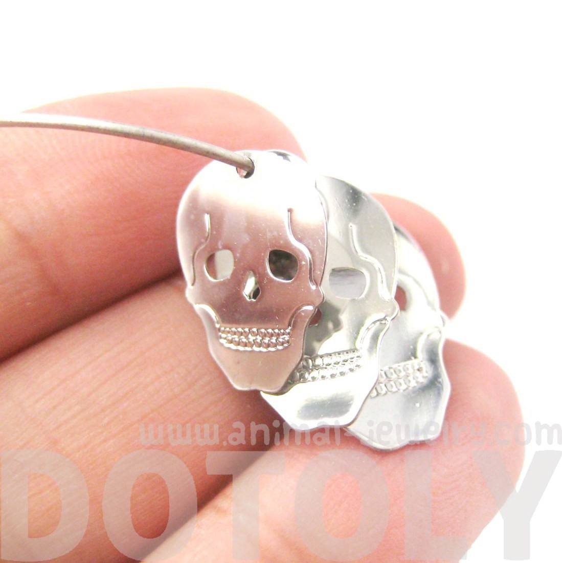 Skeleton Skull Silhouette Shaped Dangle Hoop Earrings in Silver