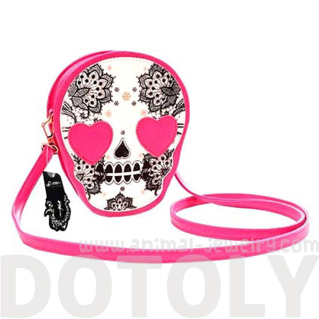 Skeleton Skull with Heart Shaped Eyes Shaped xBody Bag
