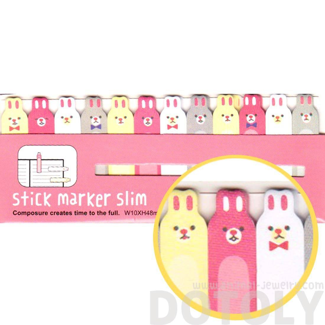 Skinny Bunny Rabbit Shaped Sticky Post-it Index Bookmark Tabs | Animal Themed Stationery