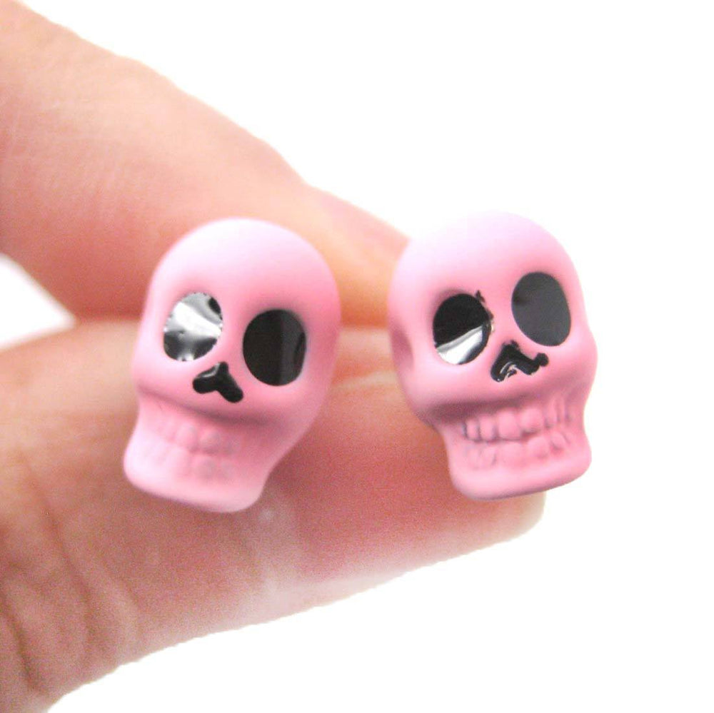Skull Shaped Skeleton Themed Unisex Emo Stud Earrings in Light Purple