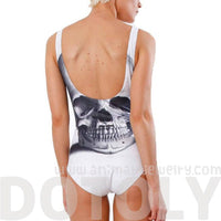 Skull Skeleton Digital Print Scoop Neck Sleeveless Bodysuit for Women