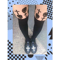 Skulls Skeletons and Crosses Faux Thigh High Garter Sheer Tights for Women