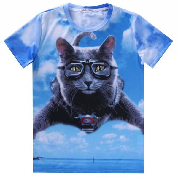 Skydiving Grey Kitty Cat Graphic Print T-Shirt in Blue