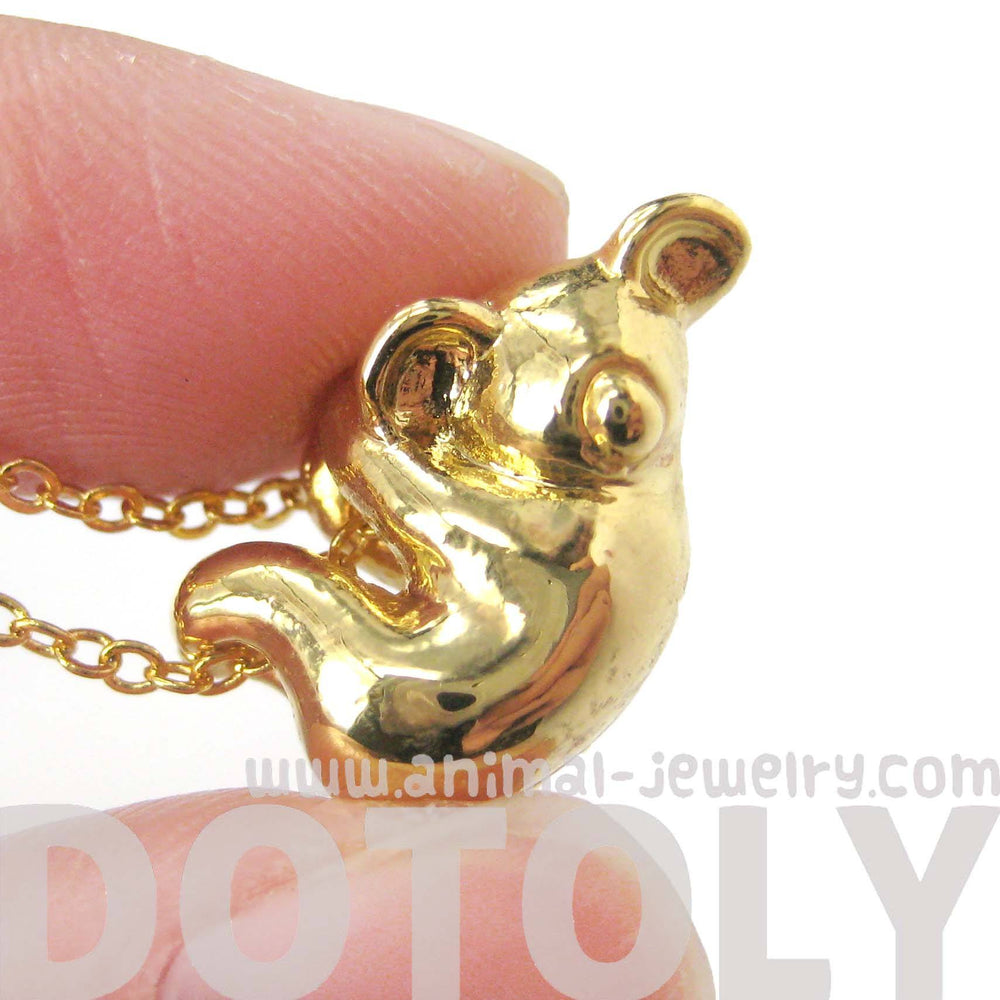 Sleek Abstract Koala Bear Shaped Animal Pendant Necklace in Gold