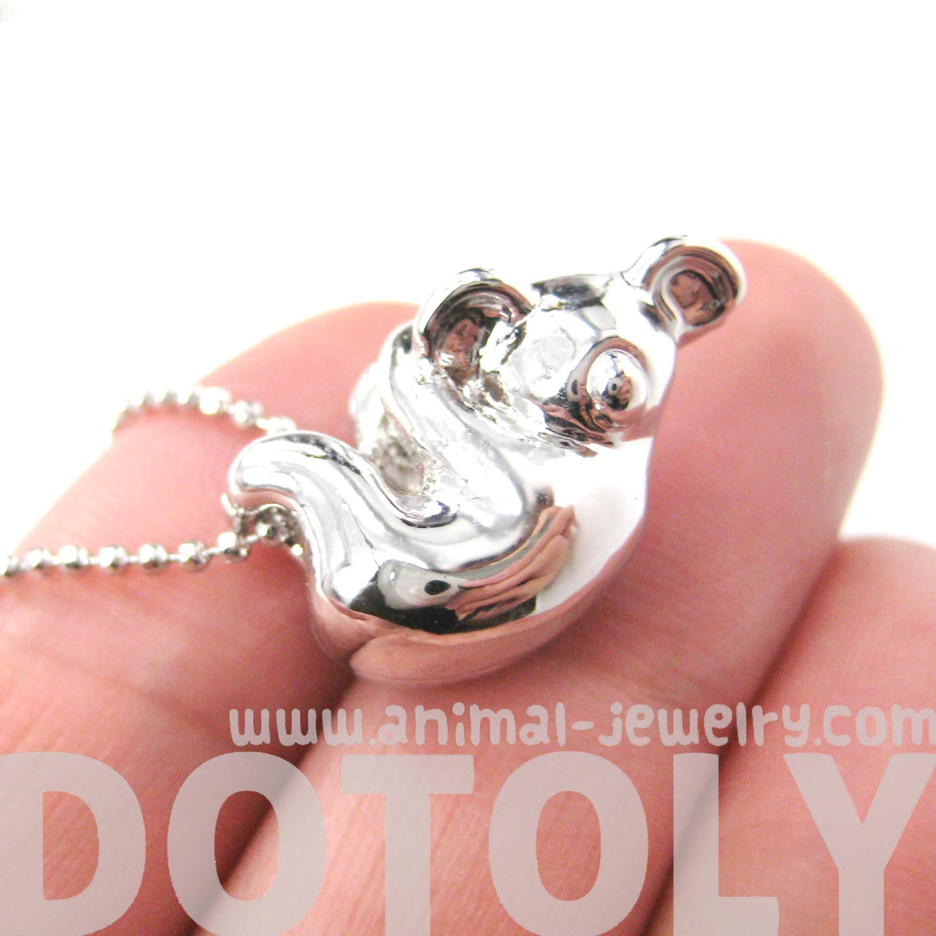 Sleek Abstract Koala Bear Shaped Animal Pendant Necklace in Silver