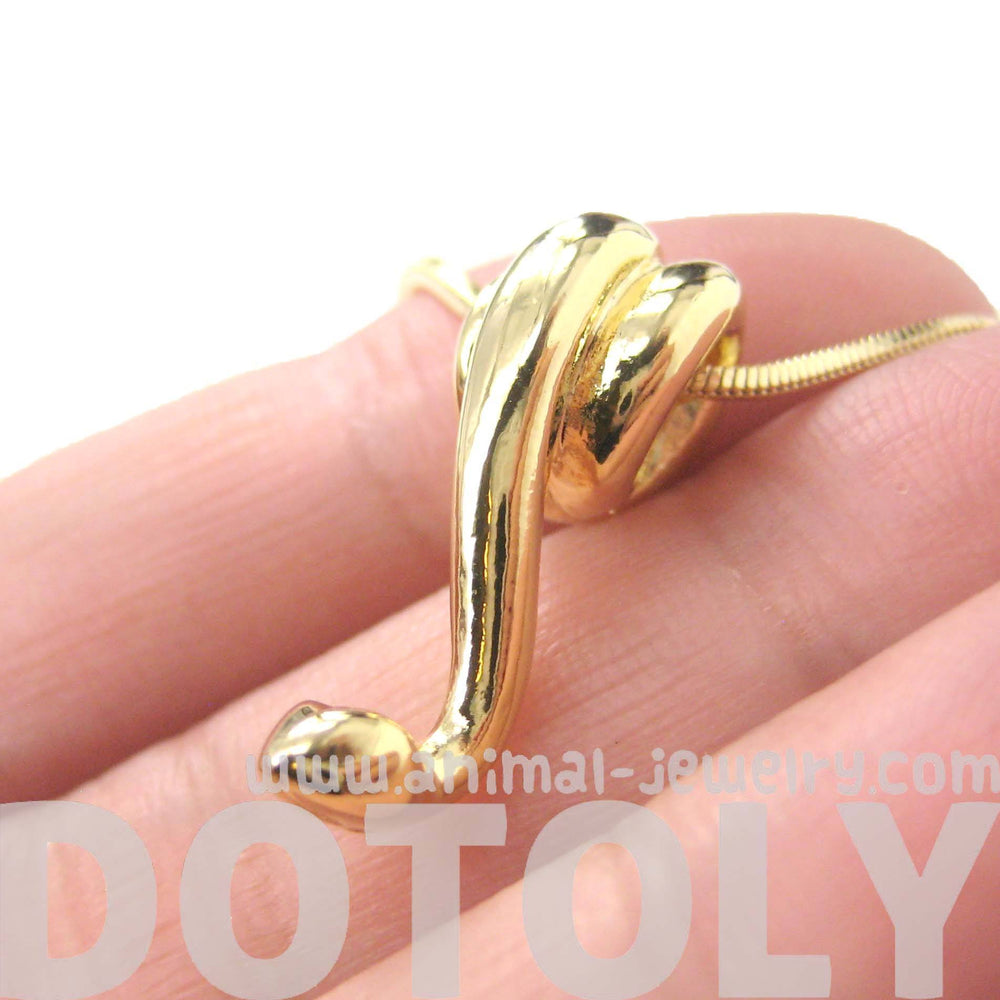 Sleek Abstract Snake Shaped Animal Pendant Necklace in Gold | DOTOLY