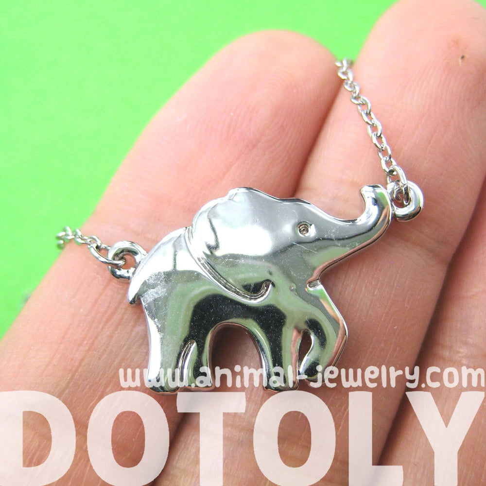 Sleek and Simple Elephant Animal Pendant Necklace in Silver | DOTOLY | DOTOLY