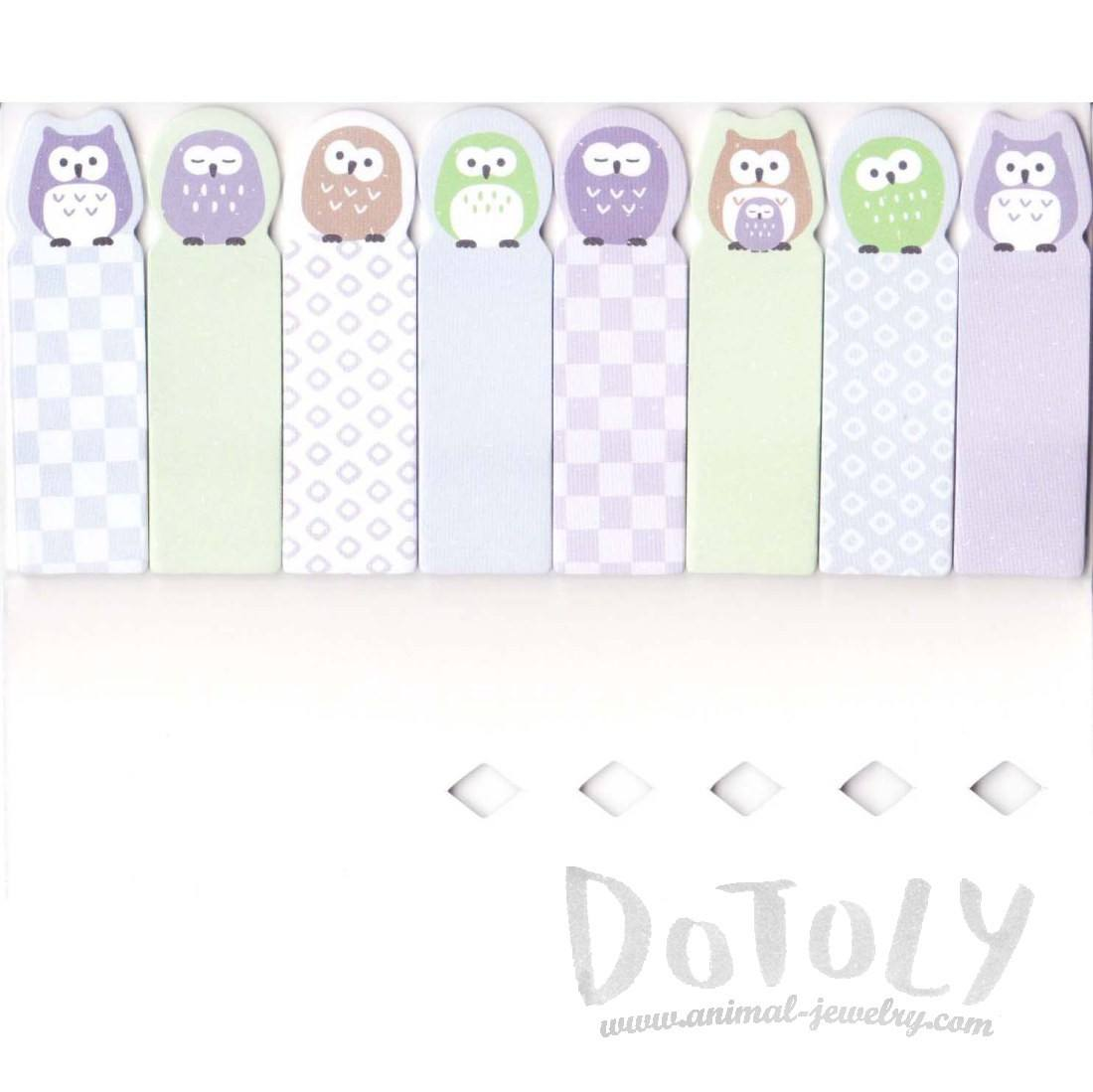 Sleepy Owl Bird Shaped Post-it Memo Index Bookmark Tabs From Japan