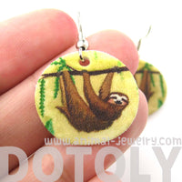 sloth-animal-watercolor-round-dangle-earrings-handmade-shrink-plastic