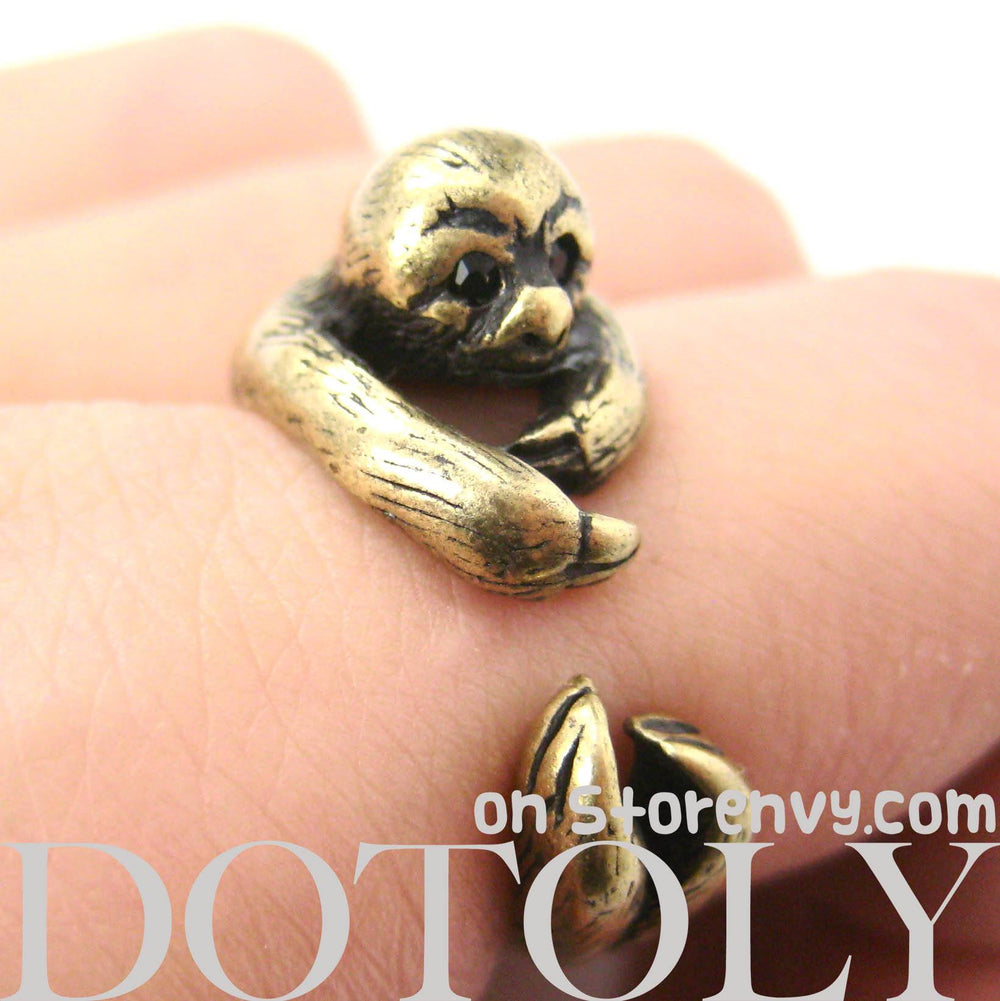 Sloth Animal Wrap Around Hug Ring in Brass - Sizes 4 to 9 Available | DOTOLY