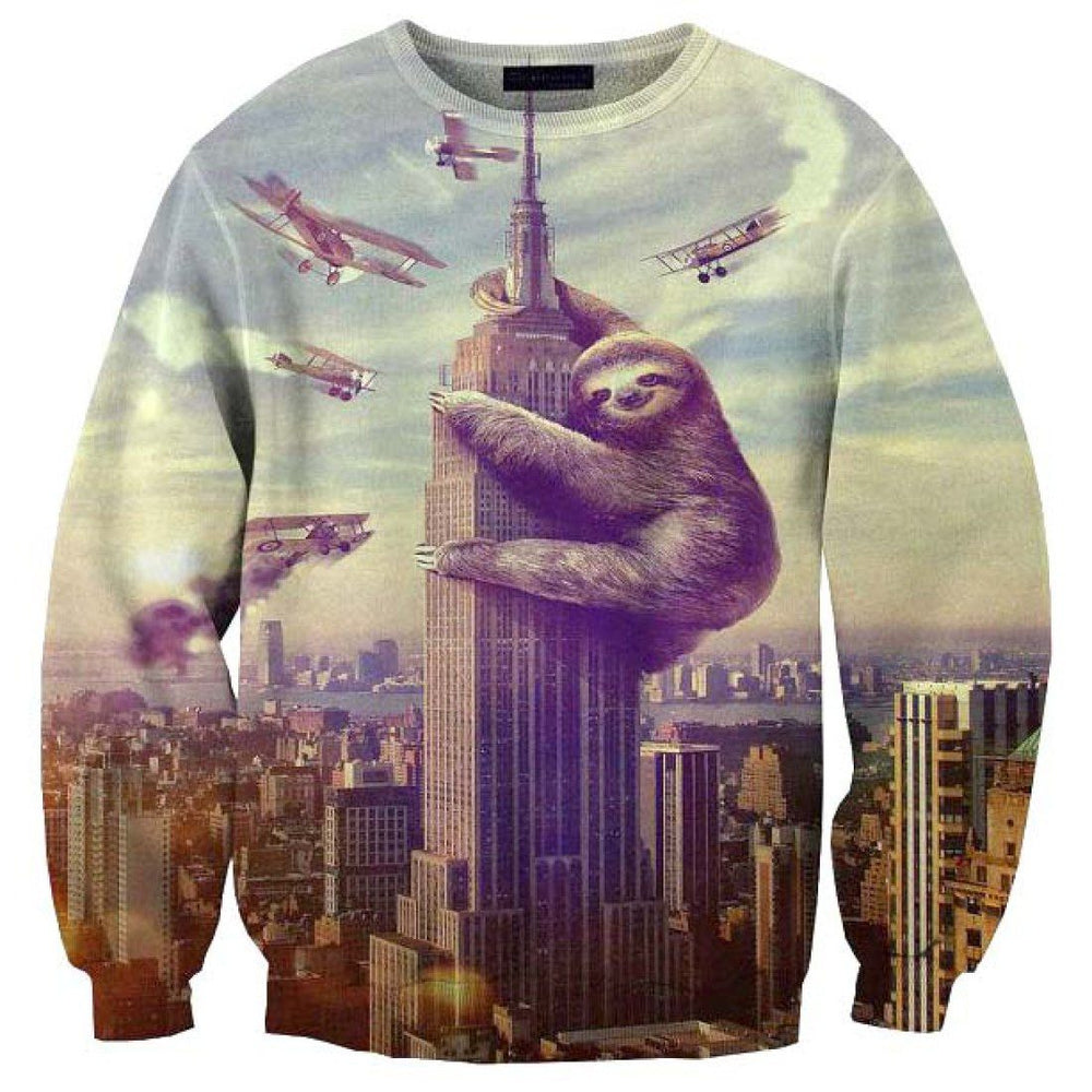 Sloth Climbing Empire State Building Slothzilla Print Unisex Sweater