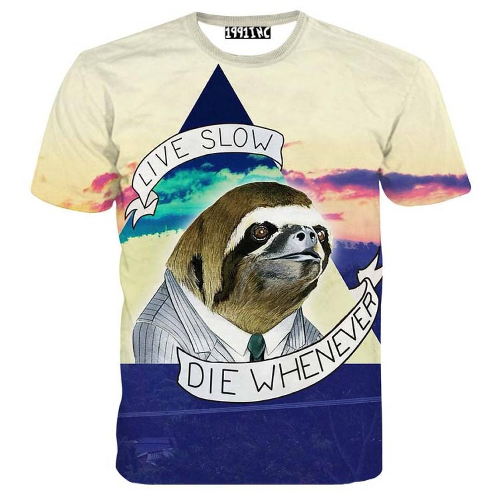 Sloth Live Slow Die Whenever Quote Graphic Print Tee