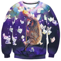 Sloth on a Stripper Pole Surrounded by Dollar Bills Print Sweatshirt