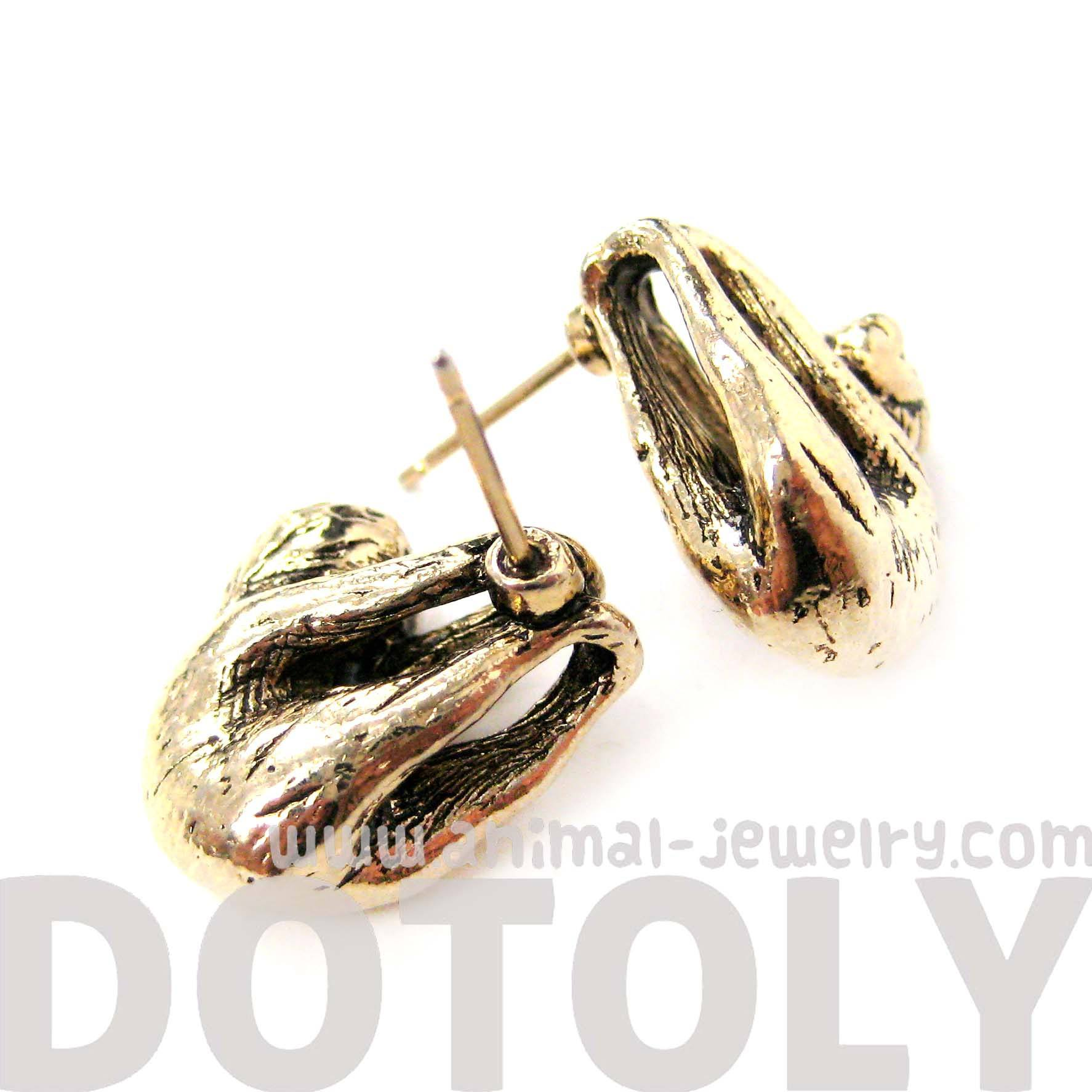 Sloth Shaped Animal Stud Earrings in Shiny Gold | Animal Jewelry