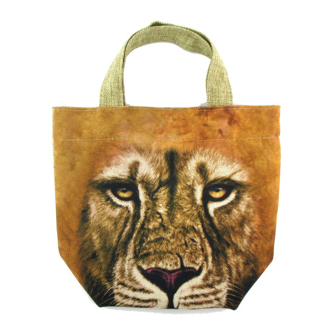 Small African Lion Face Print Fabric Lunch Tote Bag
