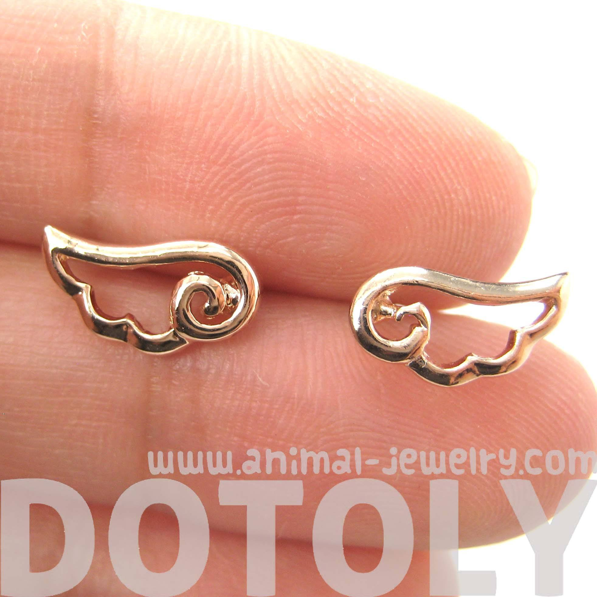 small-angel-wings-feather-outline-stud-earrings-in-rose-gold-dotoly