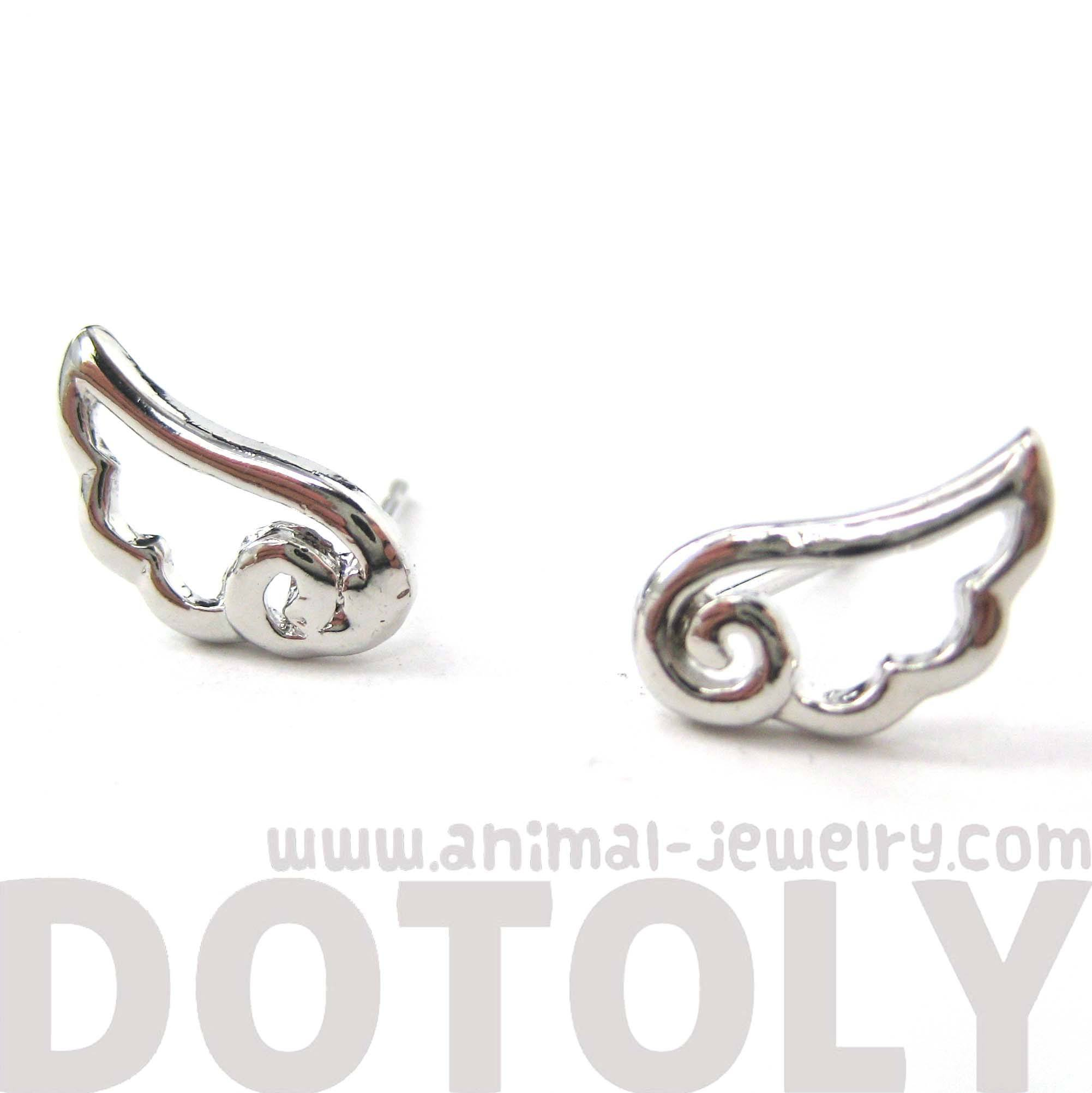 small-angel-wings-feather-outline-stud-earrings-in-silver-dotoly