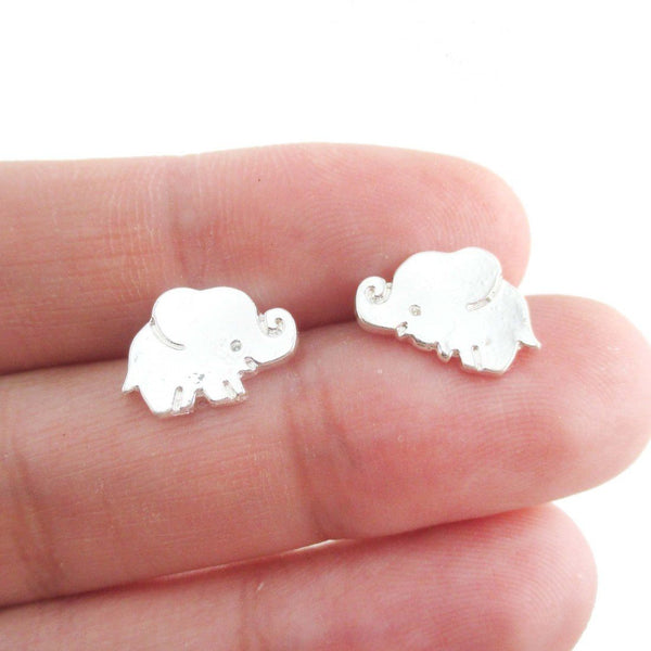 Small Baby Elephant Shaped Stud Earrings in Silver
