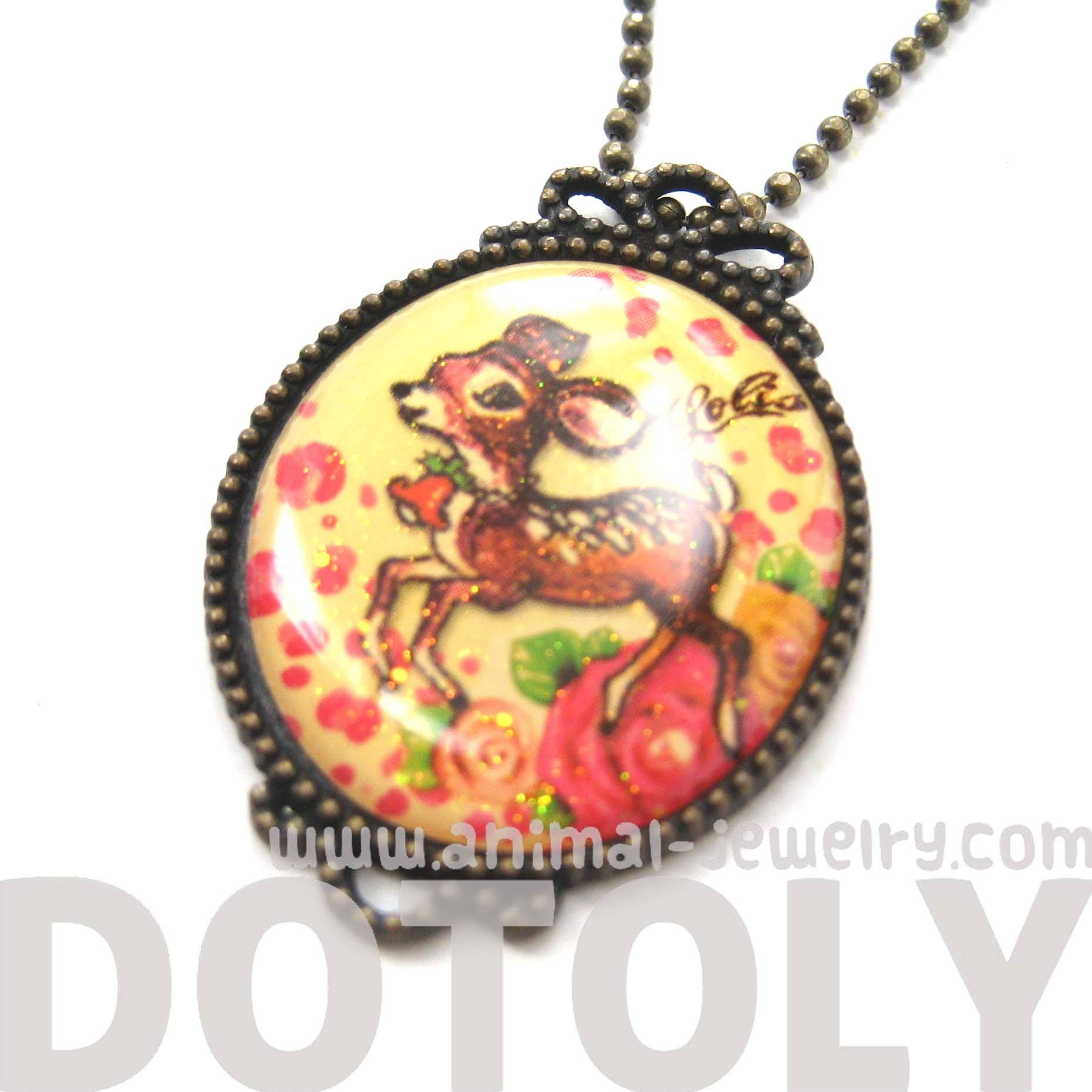Small Bambi Deer with Roses Illustrated Pendant Necklace | DOTOLY