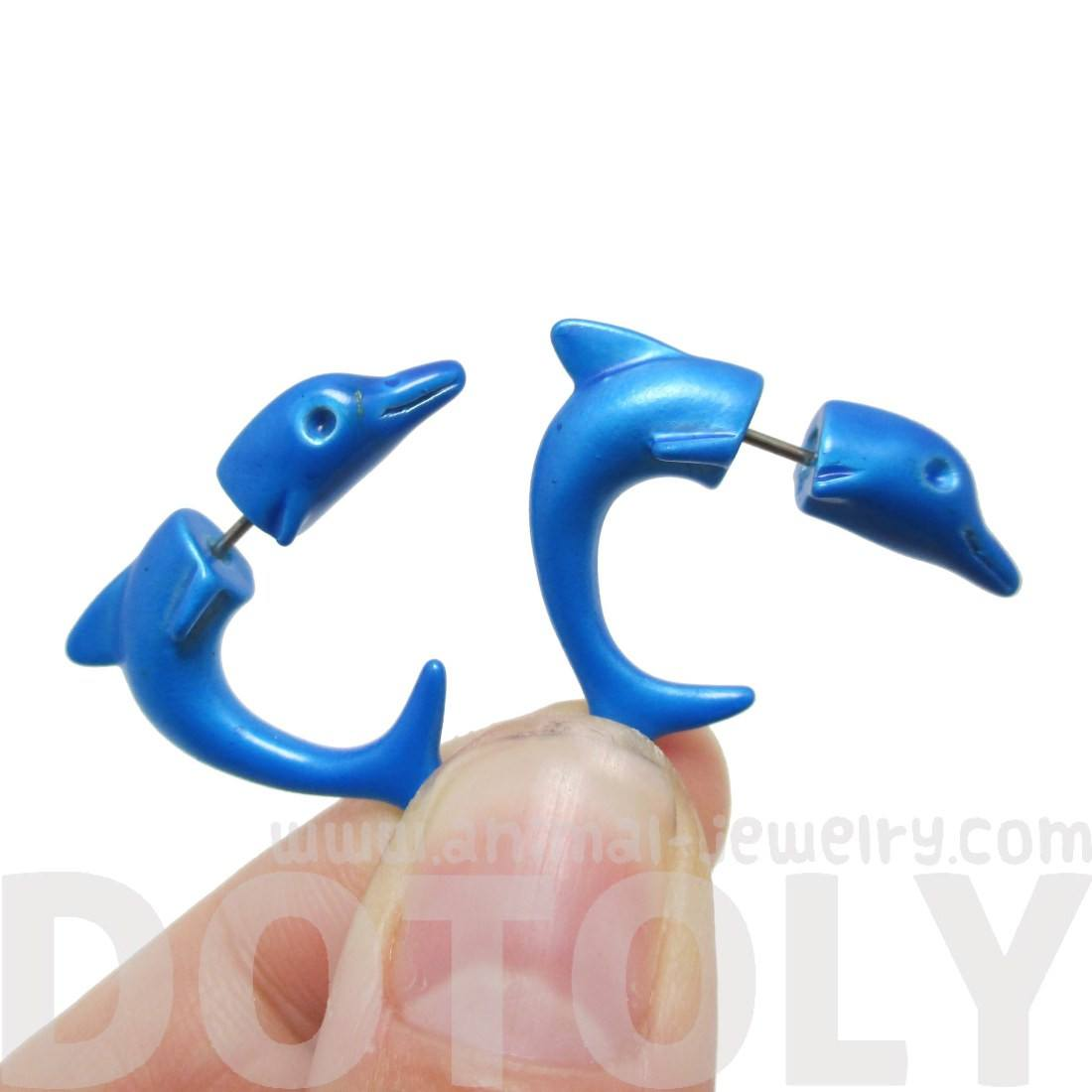 Blue Dolphin Sea Animal Shaped Front Back Stud Earrings