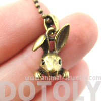 Small Bunny Rabbit Animal Head Pendant Necklace in Brass | DOTOLY | DOTOLY