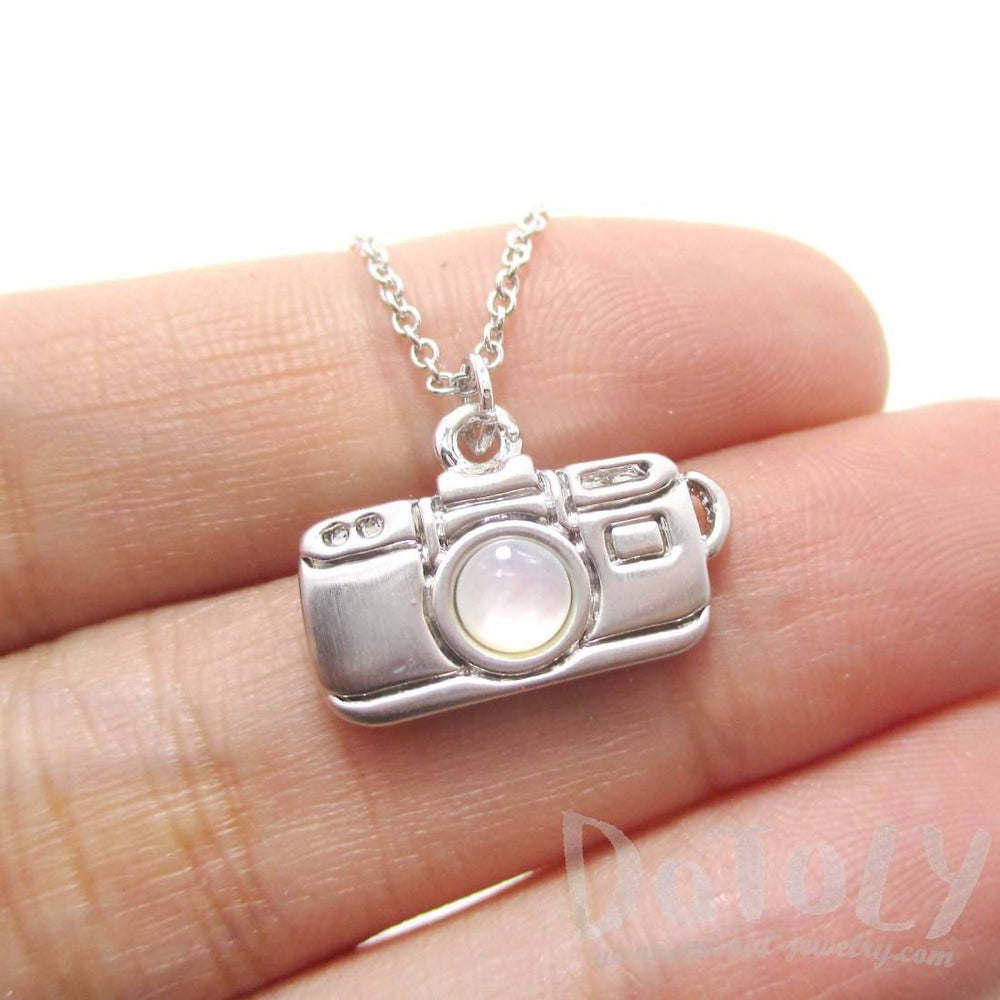 Camera Shaped Pearl Lens Pendant Necklace in Silver