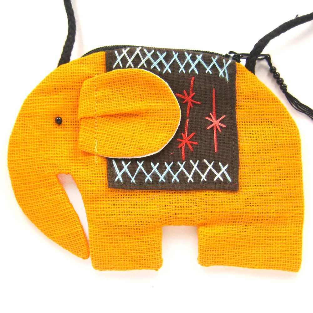 Small Elephant Shaped Animal Cross Body Bag in Mustard Yellow | DOTOLY