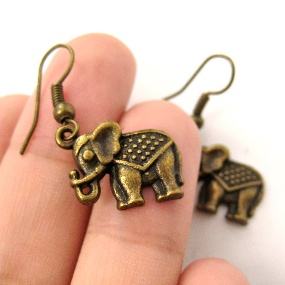 Small Elephant Shaped Dangle Earrings in Brass with Textured Detail | DOTOLY | DOTOLY