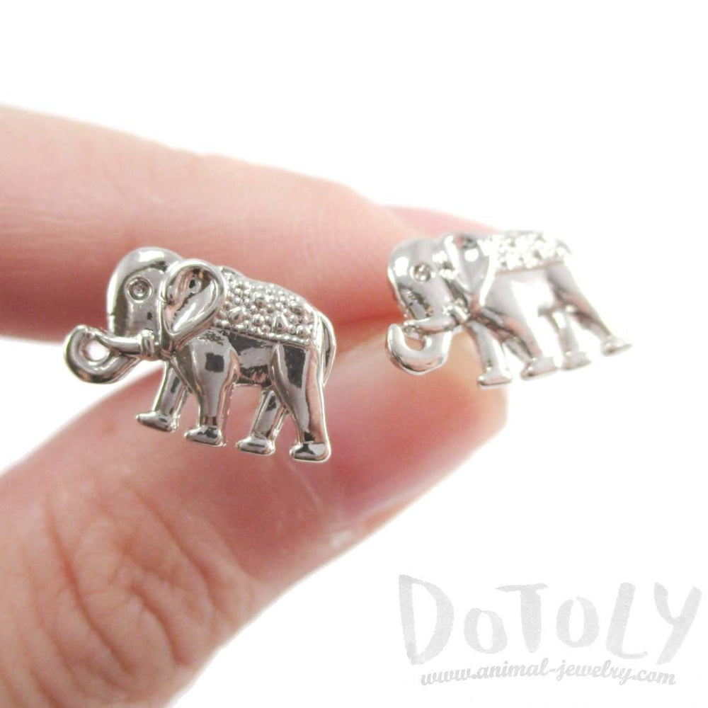 Small Elephant Shaped Stud Earrings in Silver | DOTOLY