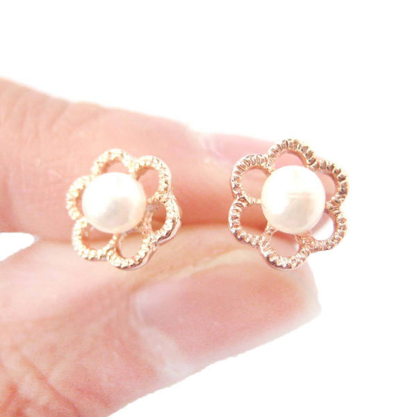 Small Floral Flower Shaped Stud Earrings Rose Gold with Pearl Details