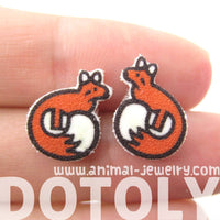 Small Fox Shaped Animal Illustration Stud Earrings | Handmade Shrink Plastic